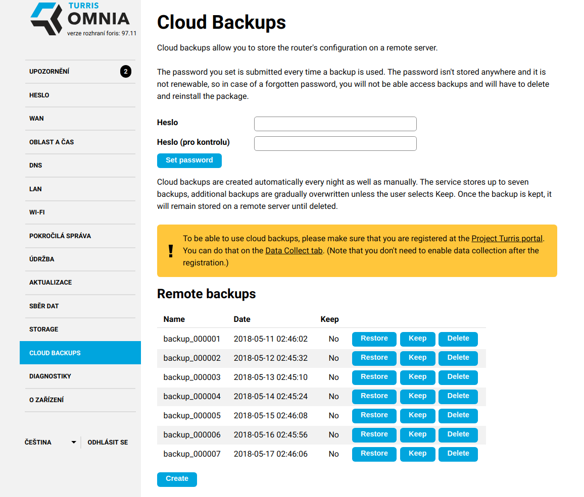 Cloud Backups [Project: Turris]