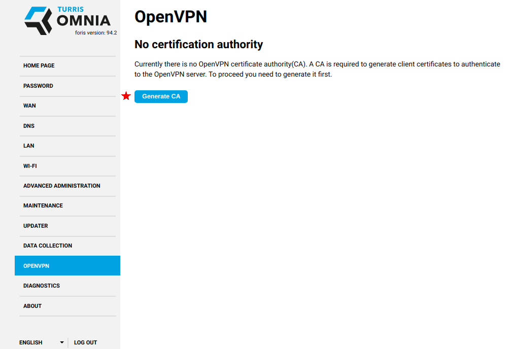 Quick and easy OpenVPN server [Project: Turris]